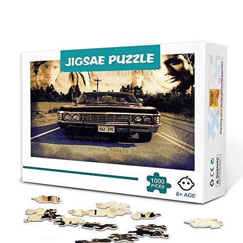 Supernatural TV Charakter Poster Puzzles für Erwachsene 1000 Stück Holz Familienspiel Stressabbau Schwieriges Herausforderungspuzzle für Kinder Erwachsene 75x50cm