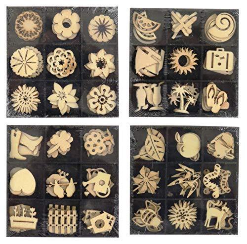 (4er Set) Holzern Geformt Verzierungen Zahlen Verschiedene Designs Zum Basteln & Scrapbooking 144 Stück