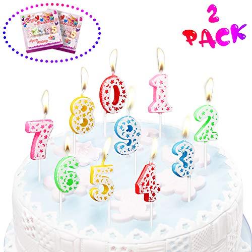 LOVEXIU Candele Compleanno 20PCS,Candela Compleanno,Candela Numero compleanno0-9,Decorazioni Compleanno candeline Compleanno, Decorazioni per Torte,Anniversari,Festa Compleanno
