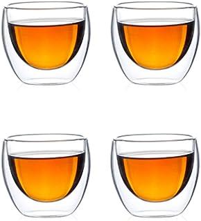 Tasses à café à double paroi en verre isolées résistantes à la chaleur