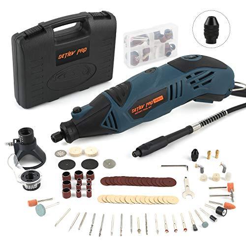 Amoladora Eléctrica, DETLEV PRO Mini amoladora 170W Herramienta Rotativa con 153 Accesorios 6 Velocidad para Cortar/Pulir/lijar/Esculpir
