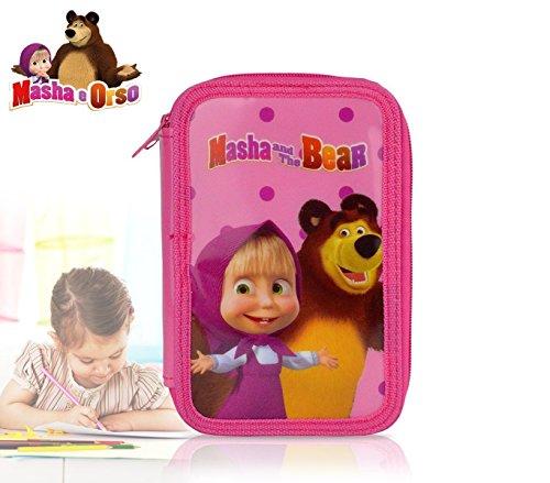 mws2909–89094–Estuche escolar de barrera–3cierres–43piezas–Masha y el oso