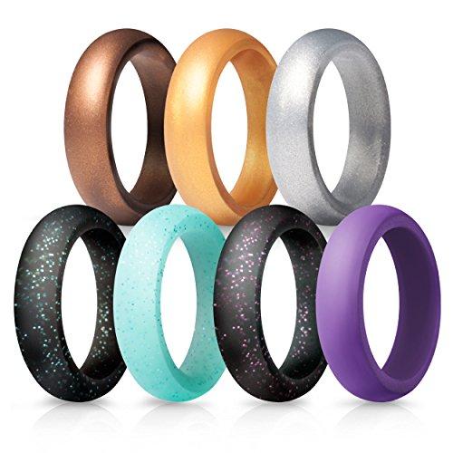 Anillos de boda de silicona para mujeres, 7unidades, Bronce dorado plateado brillante azul verdoso púrpura negro, Bronze Gold Silver Glitter Teal Purple Black