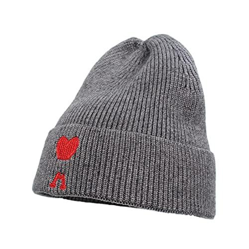 H/A MEIMEIGUO 2021 otoño/Invierno Nuevo Sombrero de Punto Marea Marca Amor Bordado Lana Sombrero Moda Gran versión Cubierta cálido frío Sombrero Mujeres MEIMEIGUO (Color : Grey, tamaño : Talla única)