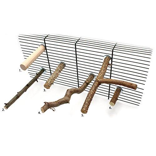 Probierset aus mindestens 5 verschiedenen Naturholz Sitzstangen, Korksitzstange 10cm, Y-Stange, Obstsitzstange, Haselnuss-Sitzstange, gewellte Sitzstange, viel günstiger als Einzelkauf, Länge 10-25cm