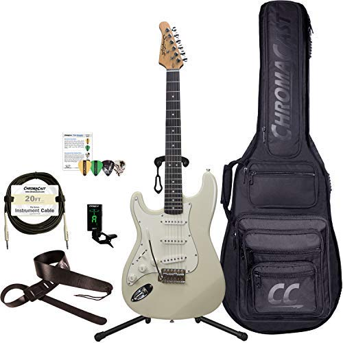 Sawtooth 6 String Solid-Body Electric Guitar, Left-Handed Ash White, Gig Bag & Accessories (ST-ES60-LH-ASH-KIT-1)