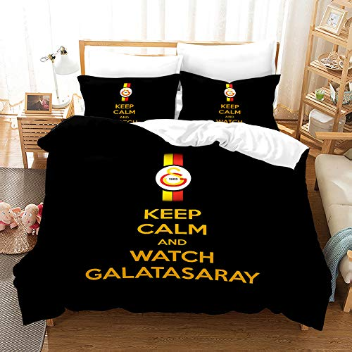 bed linings Bettwäsche-Set 3D Football Giants Printing Cartoon Bettwäsche-Set Mit Reißverschluss 100% Polyester Geschenk Bettbezug 3 Stück-Satz Mit 2 Kissen- Galatasaray-AU Double71*83