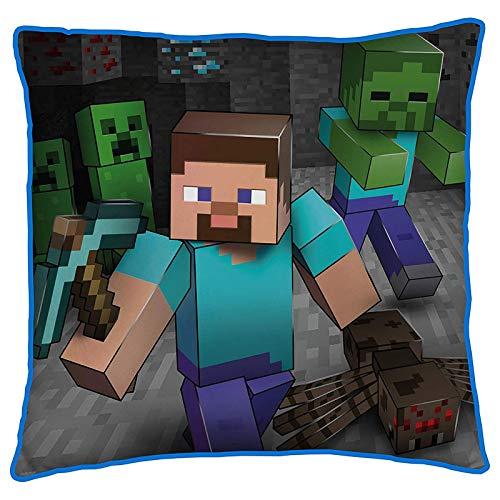 Minecraft Doppelseitiges Kissen, quadratisch, für jedes Kinderzimmer oder Schlafzimmer, Mehrfarbig
