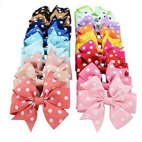 Efivs Arts Lot de 20 bandeaux à cheveux en ruban gros-grain avec pinces crocodiles pour bébés, filles, enfants, adolescents, tout-petits