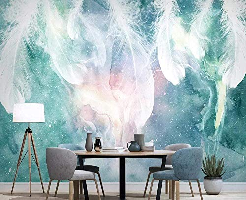 XHXI Nordic Abstract Ink Feather Wallpapers 3D Non-Woven Wallpaper Modern Wall Pictures Wall Decoration 3D Wallpaper Living Room The Wall for Bedroom Mural border-350cm×256cm