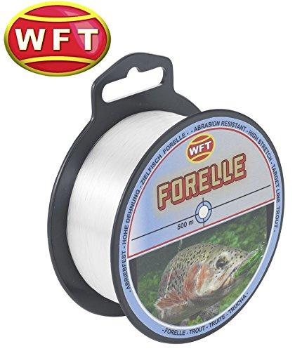 WFT Zielfisch Forelle 500m Clear - Angelschnur zum Forellenangeln, Monofilschnur für Forellen, Forellenschnur zum Angeln, Schnur, Durchmesser/Tragkraft:0.22mm / 4.2kg Tragkraft