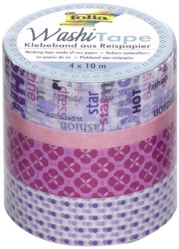 folia 26406 - Washi Tape, Klebeband aus Reispapier, 4er Set Mädchentraum - ideal zum Verzieren und Dekorieren