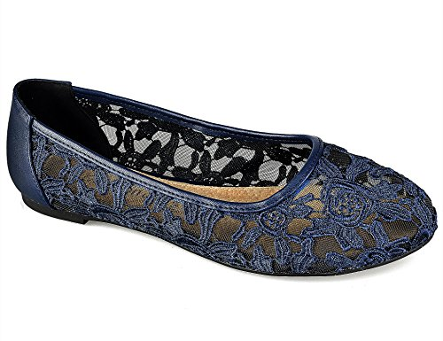 Greatonu Damen Geschlossene Ballerinas Spitze Flache Sandalen Übergrößen Marineblau Größe 38.5EU