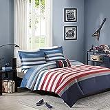 Red, White & Blue Patriotic, Nautical Full/Queen Comforter, Shams & Toss Pillow (4 Piece Bedding) + Homemade Wax Melts