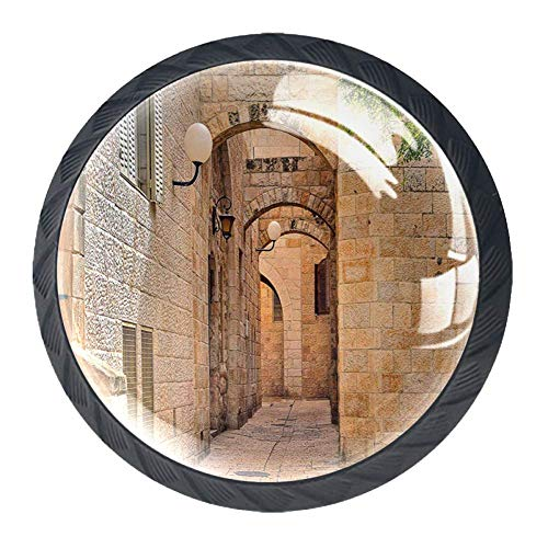 Puertas de Valencia España luz del día Mediterráneo Residencia entrando en la ciudad antigua 4 piezas Gabinete Pomos cajón Cocina Cómoda Armario, plástico, Black08, 35 mm