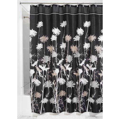 InterDesign Daizy rideau douche, rideau baignoire en polyester de 180,0 cm x 200,0 cm, rideau salle de bain intemporel à tenue stable, noir/gris