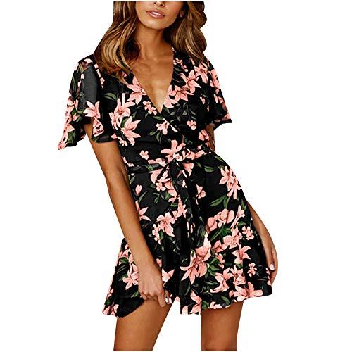 KI-8jcuD Slanke jurk voor dames, bloemenjurk, tuniek, bloemenjurk, zomerjurk, bloemenjurk, mini-jurk, jurk, uitlopende rok, partyjurk.