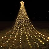 Christmas Star String Lights Outdoor Decorations, 13FT 246 LED Waterfall Tree Lights with Topper Star, 8 Lighting Modes Waterproof for Wedding Holiday Party Yard Garden Thanksgiving Decor-Warm White