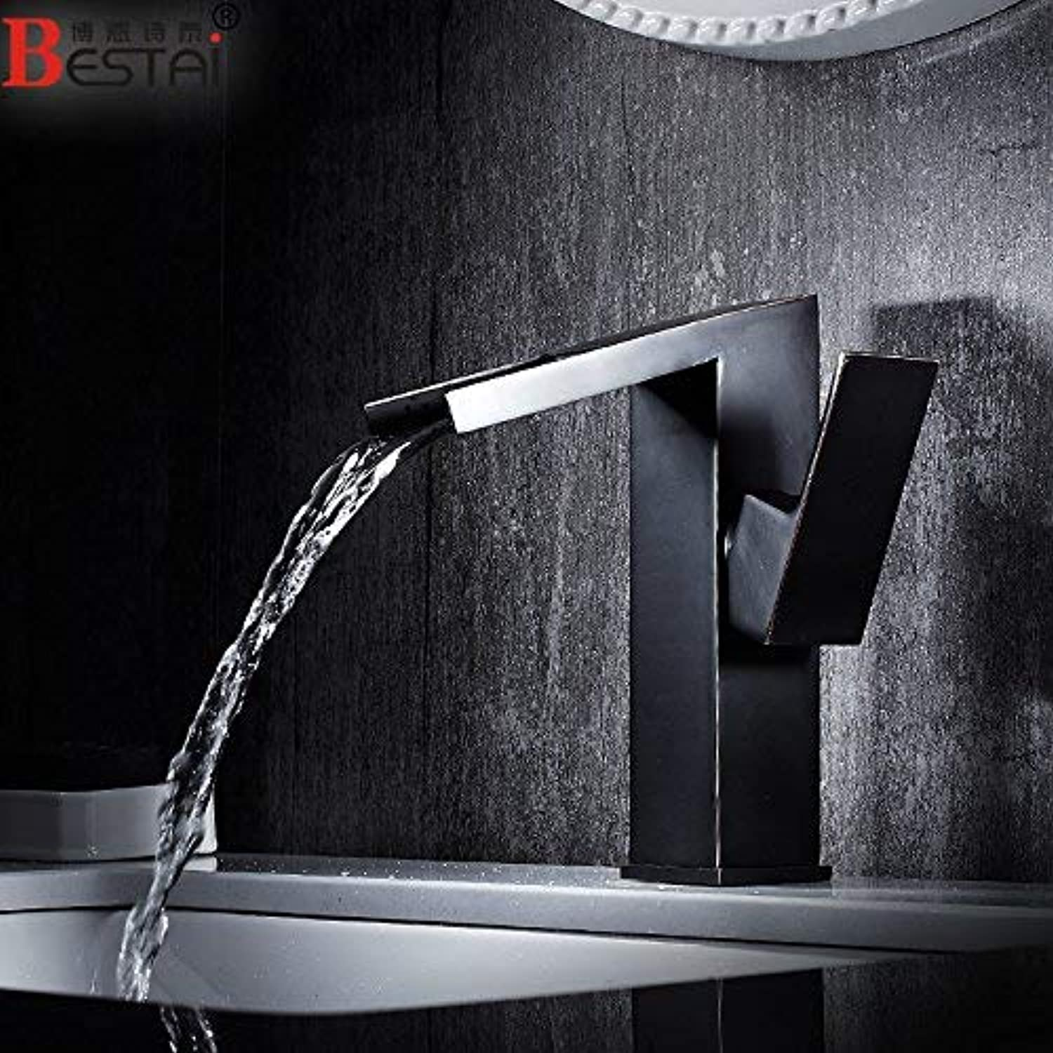 CFHJN HOME Mixer Water Tap copper Simple style Basin black Hot and cold