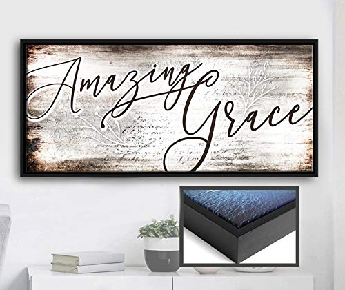 Sense Of Art | Amazing Grace Quote | Religious Gifts | Farm House Sign | Rustic Kitchen Decor | Ready to Hang Sign | Christian Wall Art (Brown, Black Floating Frame 42x19)