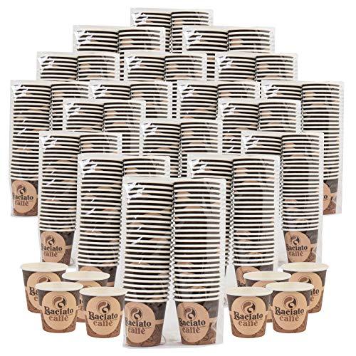 Eurocali 1000 Bicchierini in Carta Biodegradabile Compostabile da caffè 75ml Bicchieri Asporto Bevande Calde Acqua