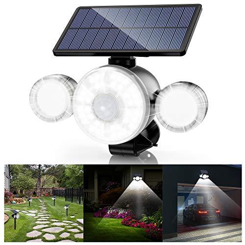 Lampe Solaire Extérieur Ultra Puissante 88LED avec Détecteur de Mouvement, Spot Solaire Etanche IP65 Eclairage Exterieur sans Fil 360° Reglable Lumière Solaire Sécurité pour Jardin Cour Garage
