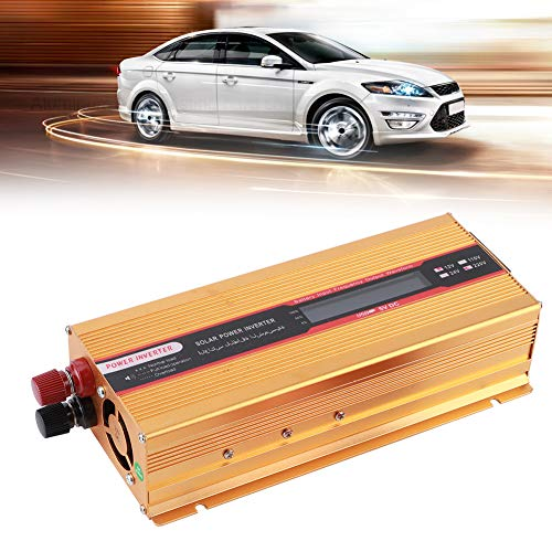 Naroote Auto-Wechselrichter, 6000W LCD-Stromrichter Modifizierte Sinuswellen Universalbuchse USB-Schnittstelle DC 12V zu AC Wechselrichter Gold(AC110V)