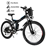 Electric Bicycle 26'' Electric Mountain Bike for Adult with 36V Lithium-Ion Battery Ebike 250W Powerful Motor 21 Speed (Black)