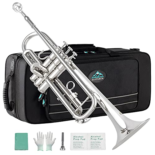 EastRock Nickel Plated Trumpet Bb Brass Standard Trumpet with Hard Case, Gloves,Cloth, 7C Mouthpiece, Musical Instruments for Student Beginner or Experienced Kids, Adults