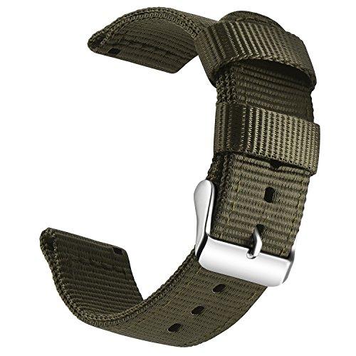 OLLREAR Nylon Correa Reloj Lienzo Correa Relojes Militar del ejército - 13 Colors & 4 Sizes - 18mm, 20mm, 22mm, 24mm (20mm, Army Green)