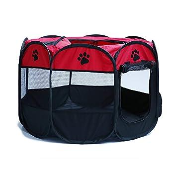 Tineer Portable Pet Cat Cage pour Chien Niche Chenil Tente Lit Parc d'enfant Camping de Plein air Pliable Maison de Caisse de Chien de Voyage Playpen (S:72×72×45cm, Rouge)