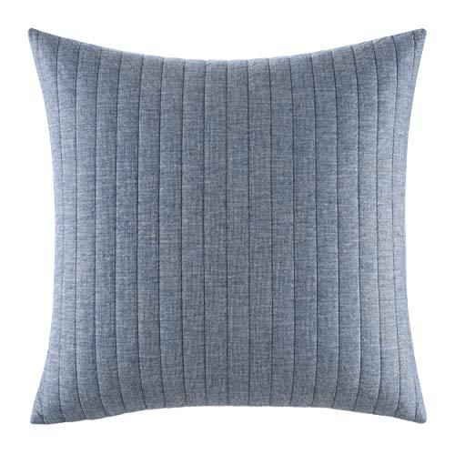 Izi Denim Quilted Cotton Euro Sham, Blue, 26 x 26