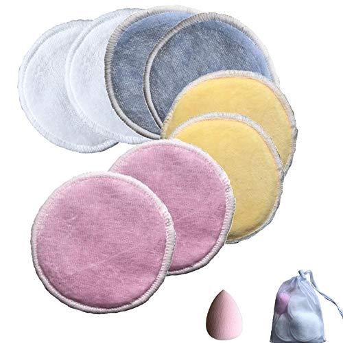PetKids - Salviette struccanti lavabili, 10 pezzi, con sacchetto per bucato in cotone, struccante, lavabili e riutilizzabili, 10 pz + uovo di bellezza + sacchetto per bucato