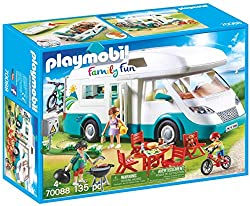 The toy camper features a removable roof, which also contains compact storage space Fully equipped with table, chairs, food, BBQ and bikes With kitchenette, bath and beds inside Includes 3 Playmobil toy figures Encourages learning through interactive...