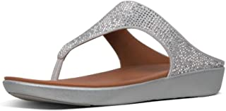 Fitflop Women's Banda Crystalled Open Toe Sandals, (Silver