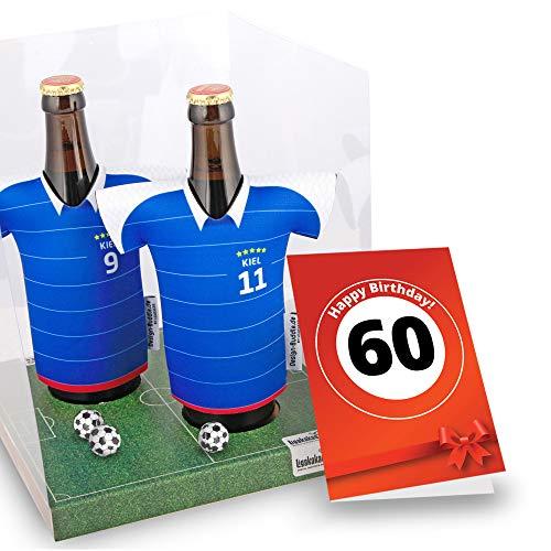 60. Geburtstag | Der Trikotkühler | Das Männergeschenk für Holstein Kiel-Fans | Langlebige Geschenkidee Ehe-Mann Freund Vater Geburtstag | Bier-Flaschenkühler by Ligakakao