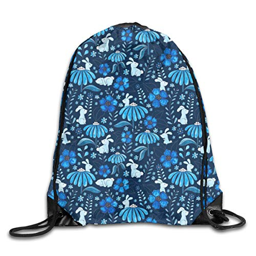 show best Bunny Floral Blue Drawstring Gym Bag for Women and Men Polyester Gym Sack String Backpack for Sport Workout, School, Travel, Books 14.17 X 16.9 inch