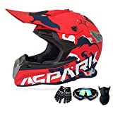 Offroad Helmet Youth Kids Motocross Gear Combo Mask Goggles Gloves,Mysterious Spell Pattern, ATV Motorcycle Helmet SUV Dirt Bike Mountain Helmet,Red,L