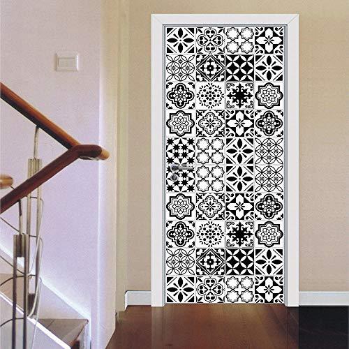 Adesivi per Porte in Piastrelle di Ceramica Creative in Bianco e Nero Adesivi per Porte in Legno per Porte in Legno Decorazione 3D Stereo 30x78inx2pcs