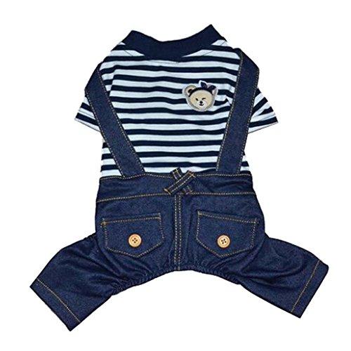 Bien design Chiens Vêtements Animaux Vêtements Navy Jean Suspenders Suit, S
