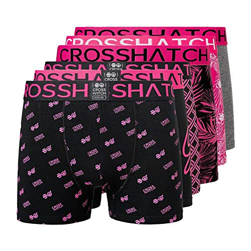 Crosshatch Gleasea Herren Boxershorts (6er-Pack) Gr. XL, Magenta - Magenta - Schwarz