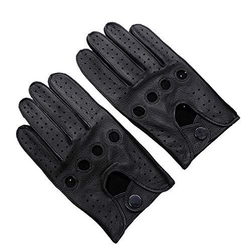 YCX Herren Autohandschuhe Lederhandschuhe Unliniert,Neue rutschfeste Herrenhandschuhe Aus Hirschleder Für Männer,Schwarz,XL