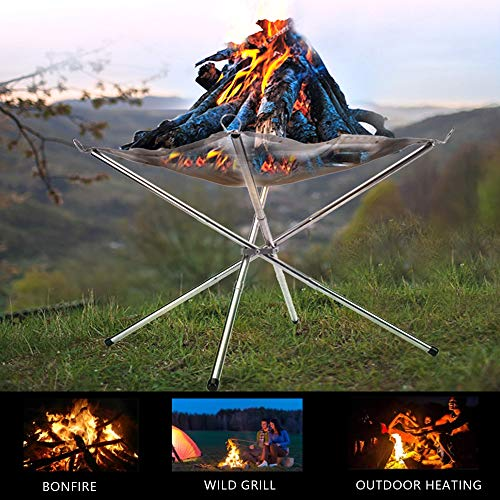 SUCHDECO Portable Fire Pit Outdoor - 2021 Upgrade Collapsing Steel Mesh Fireplace, 16.5 Inch Foldable Camping Fire Pit, Portable Fire Pit for Camping, Outdoor, Patio, Backyard and Garden