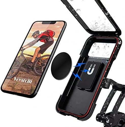 Waterproof Bike Phone Mount-Phone Holder for Motorcycle,360 Rotation, Magnetic Connection,Touch Screen,Fit Below 7.2 Smartphone,Fit Most of Diameter Bicycle Handle