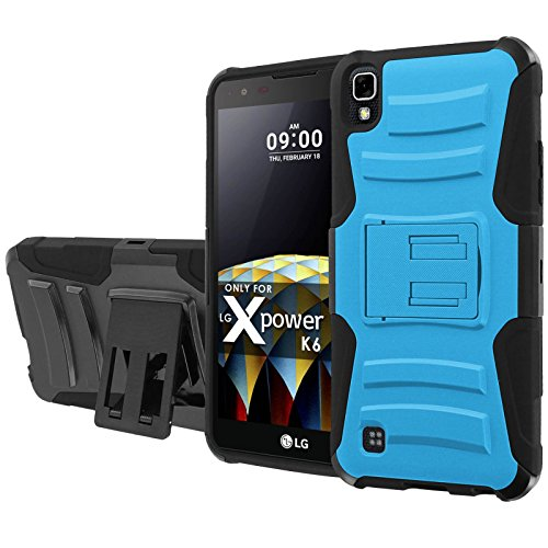 [NakedShield] [Armor Case] [Black/Black] Heavy Duty Armor [Holster with Kickstand] - [Sky Blue] Compatible for LG X Power [K210 K450 K6 K6P K220 US610]
