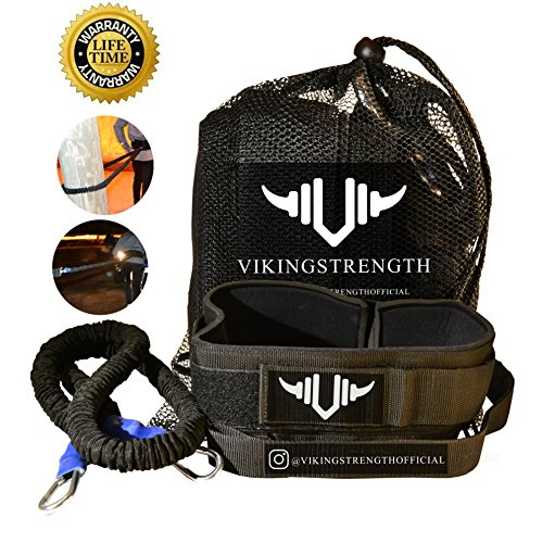 Vikingstrength - 360° Resistance Running Training Bungee Band (Waist) & Workout Guide Speed, Fitness Agility – Gym Equipment for Football, Basketball, Crossfit, Solo or Partner