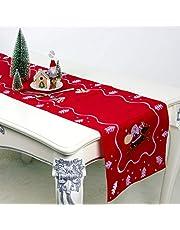 vijTIAN Christmas Mantel de mesa de Papá Noel bordado para decoración de tu hogar para la cena de Navidad o vacaciones (rojo)