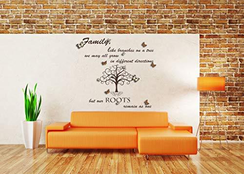 Family Like Branches on a tree Zitat mit 3D Schmetterlingen, Vinyl Wandkunst Aufkleber, Wandbild, Aufkleber. Zuhause, Wanddekor. Wohnzimmer, Schlafzimmer, Esszimmer. Familienstammbaum