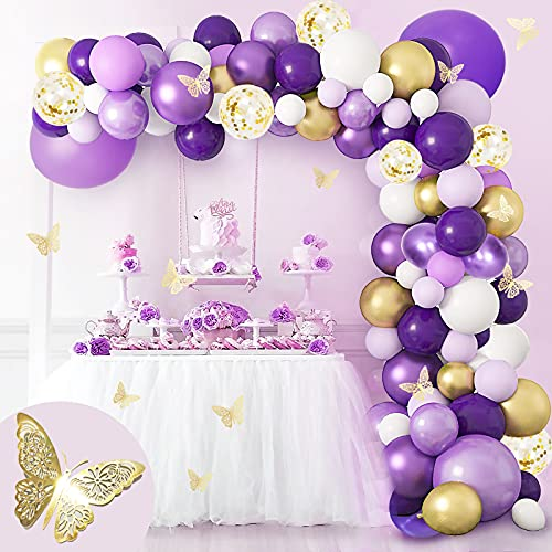Cuecutie 116Pcs Purple Birthday Decorations Gold Butterfly Party...