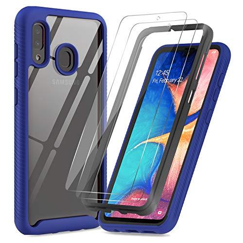 LeYi Hülle für Samsung Galaxy A20e Mit [2 Stück] Folie Panzerglas, Durchsichtig Stoßfest Handyhülle Transparent Silikon Schutzhülle Hard PC und Weich Slim TPU Bumper Clear Cover für A20e Blau